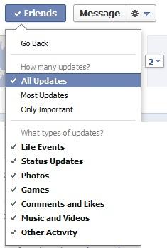 Facebook friends settings, updates