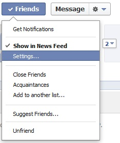 Facebook friends settings