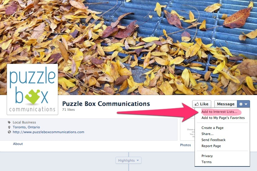 add a Facebook page to your interest lists