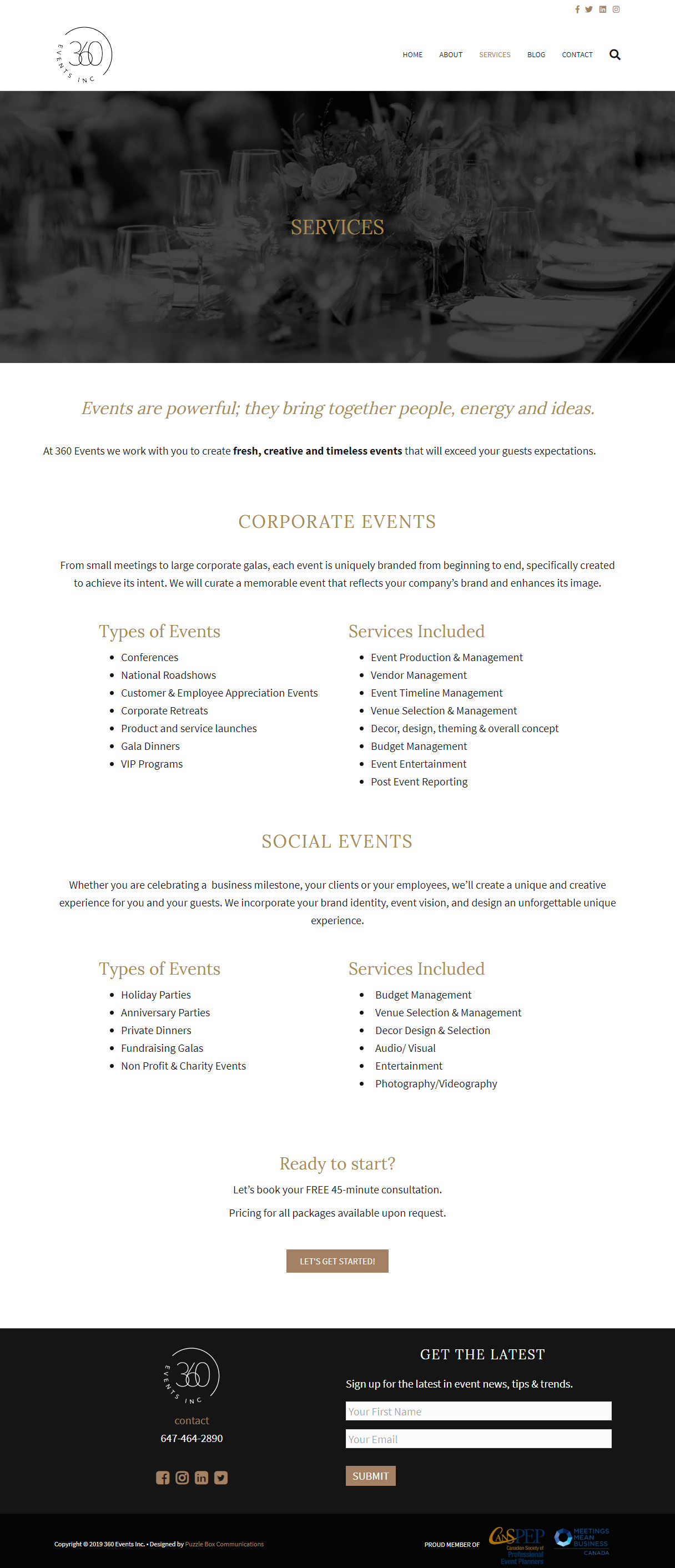 Web design and development for 360Events.ca