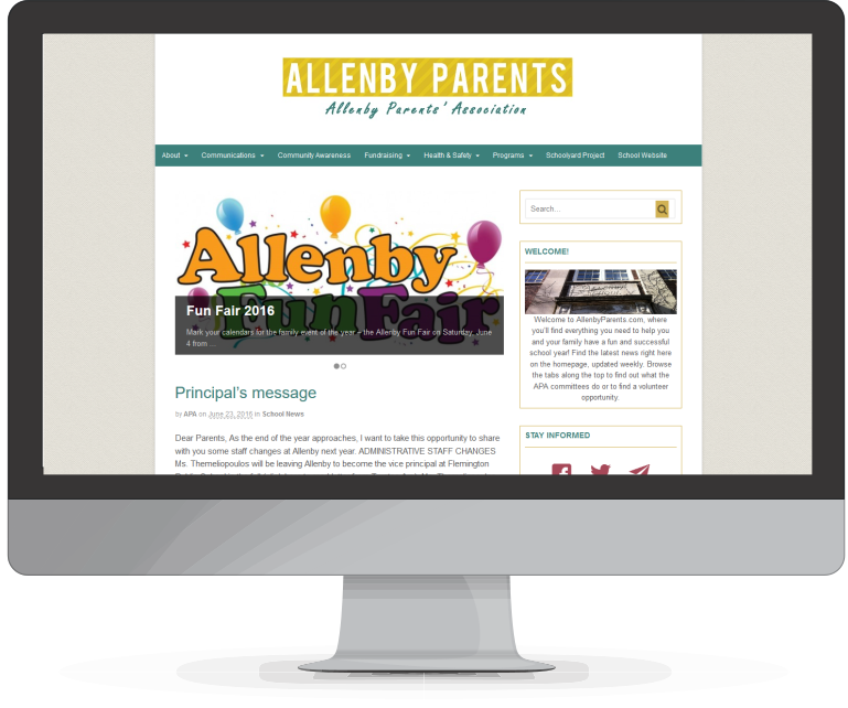 Digital Strategy, website design and development by Tamara Sztainbok, Puzzleboxcommunications.com for AllenbyParents.com