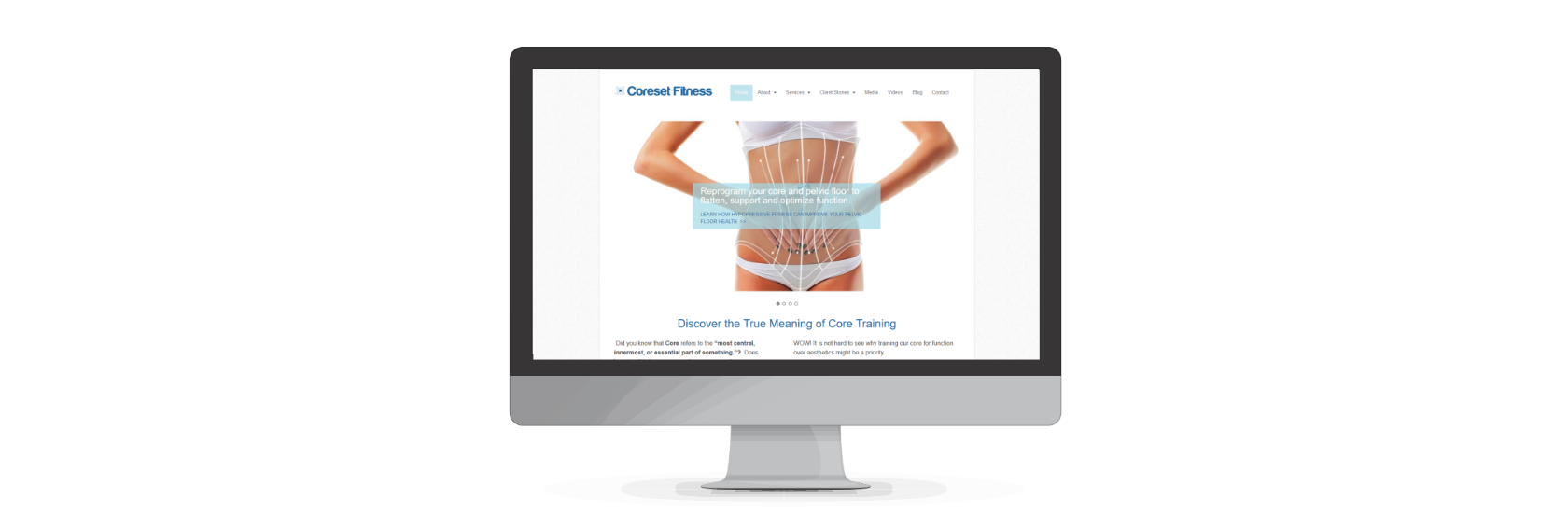 Coreset fitness, webdesign by www.puzzleboxcommunications.com