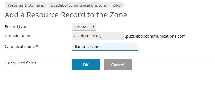 Create cname Record