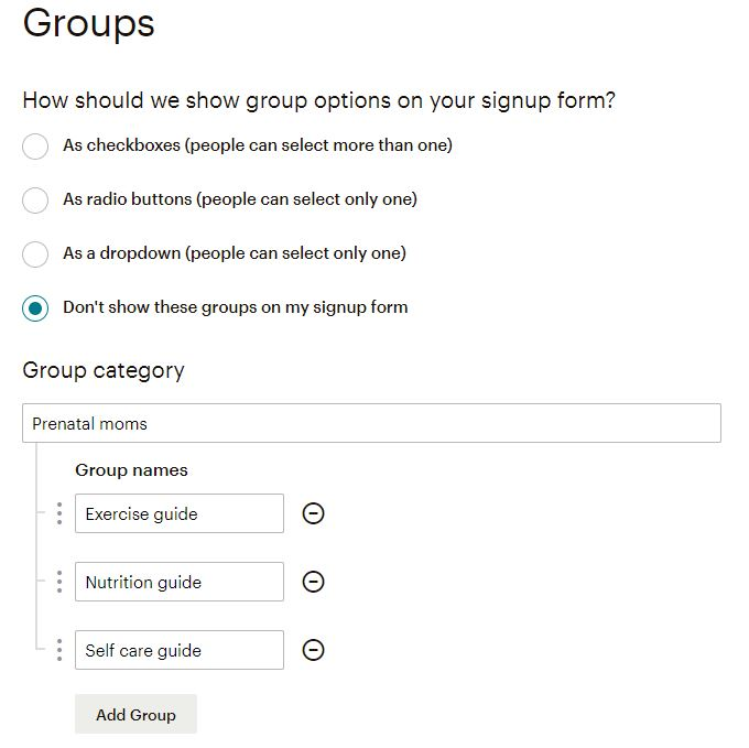 Create Groups in MailChimp
