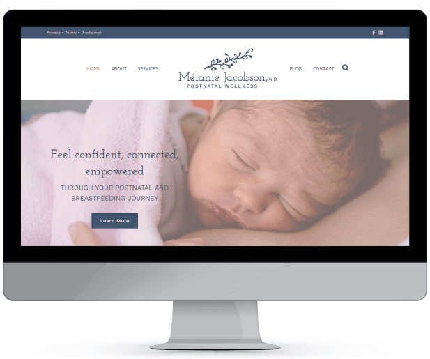 Melanie Jacobson wordpress web design & development, logo desgign