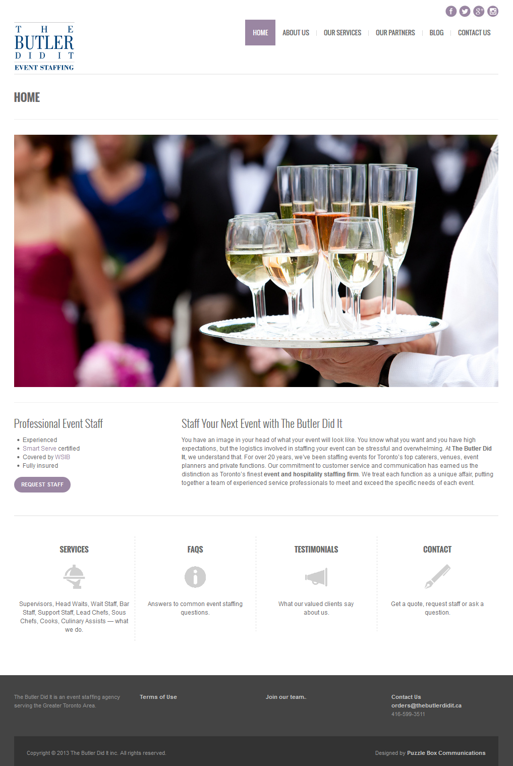 The Butler Did It, Web Design by www.puzzleboxcommunications.com