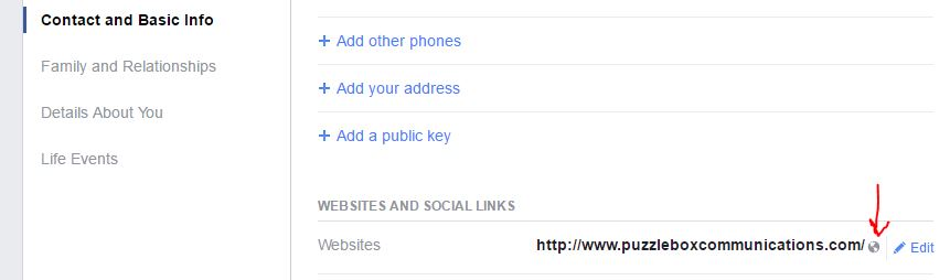 Set your website to public on Facebook