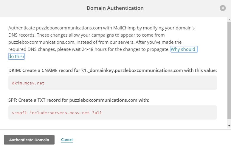 MailChimp domain authentication instructions