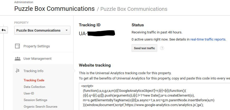 Google Analytics Tracking ID screen