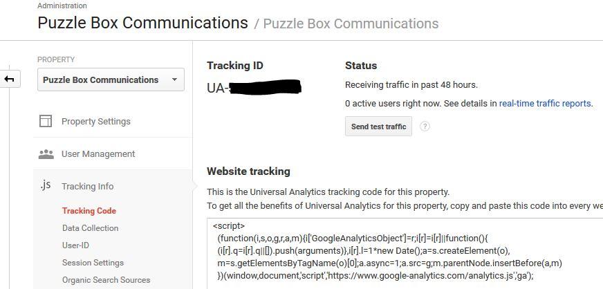 Google Analytics Tracking ID screen
