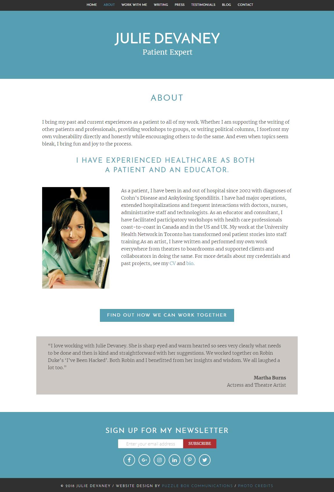 juliedevaney.com, custom wordpress web design and development