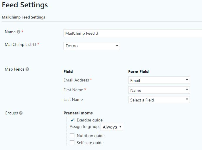 Setting a MailChimp Feed