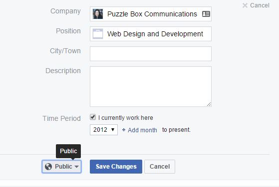 privacy on Facebook work section