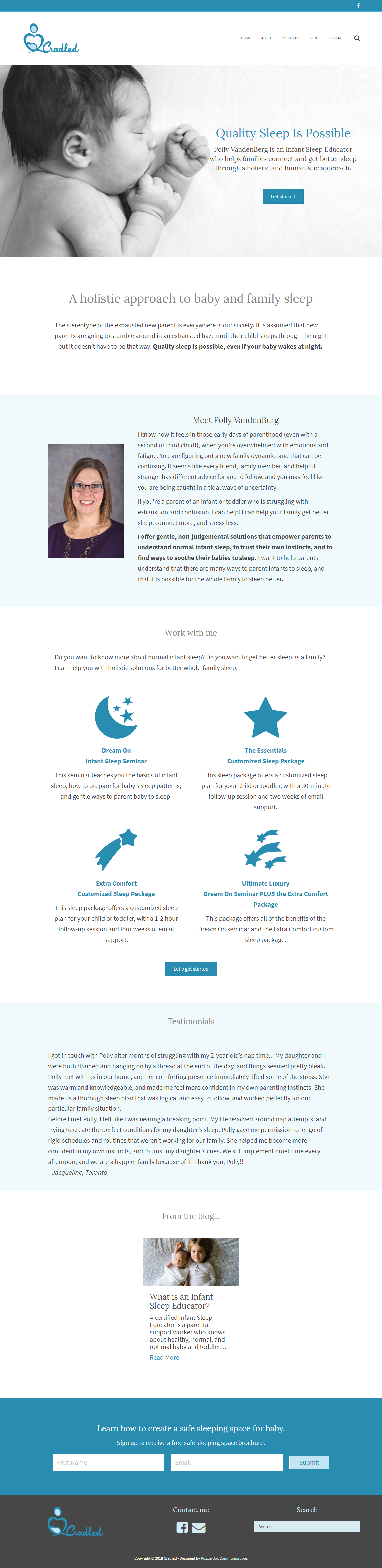 Cradled.ca, WordPress web design and development