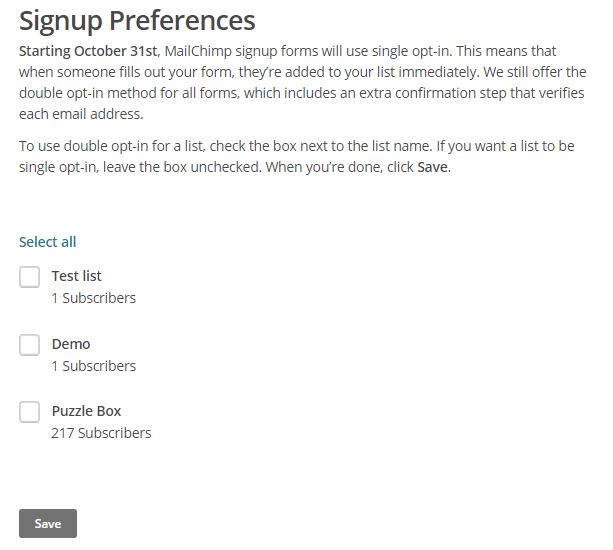 MailChimp opt-in sign-up form preferences page, How to Deliver Your Lead Magnet to Your MailChimp Subscribers