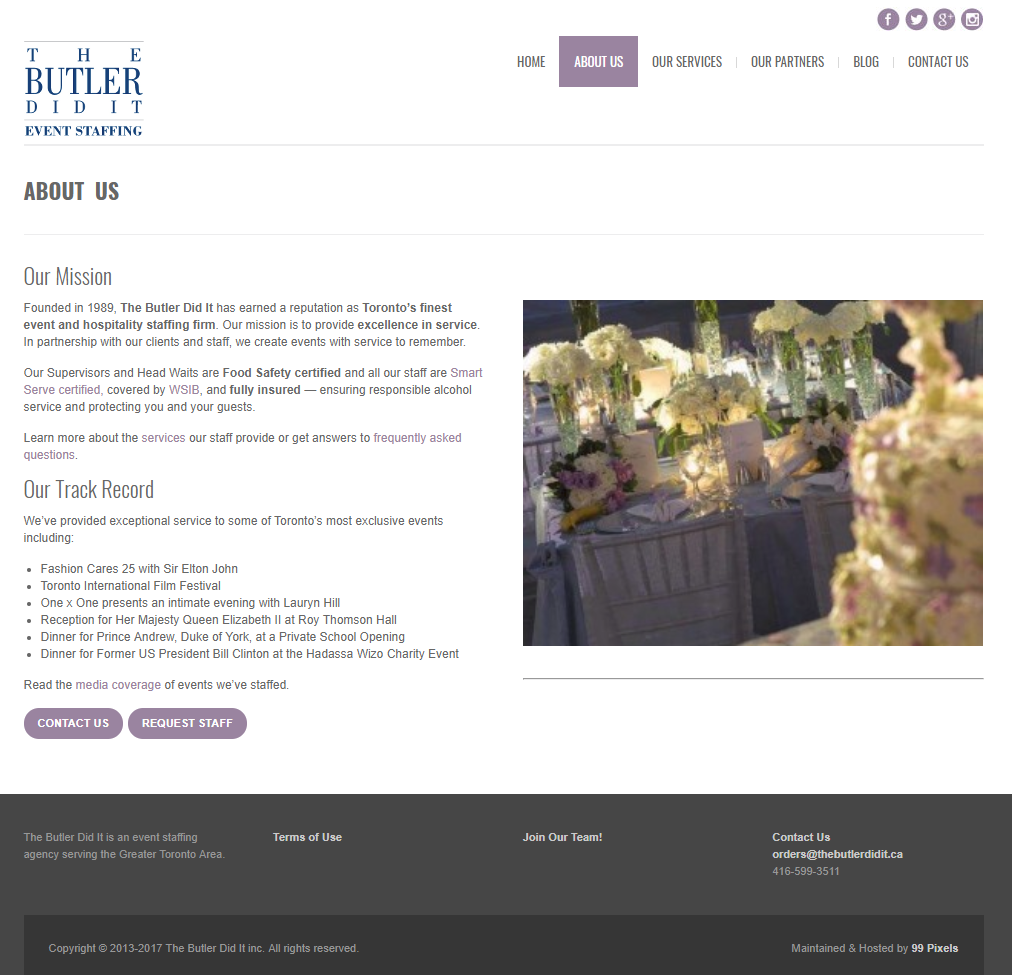 thebutlerdidit.ca, wordpress web design and development, copyrwriting